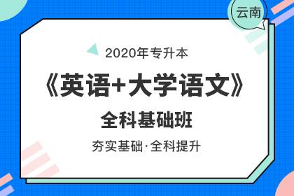 2020年云南专升本《英语+大学语文》全科基础班