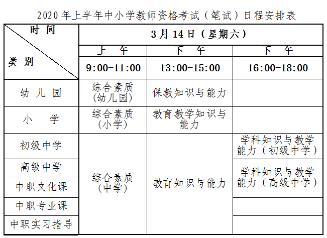 青海2020上半年教师资格证考试笔试公告