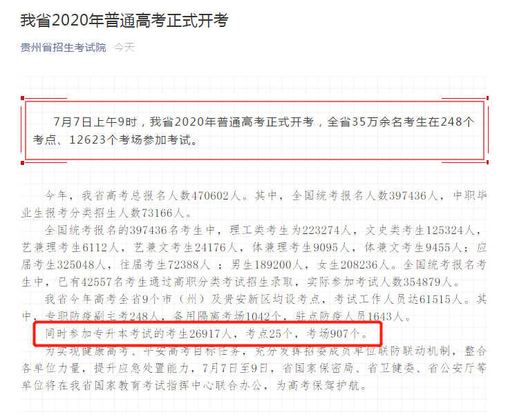 贵州专升本人数及招生计划