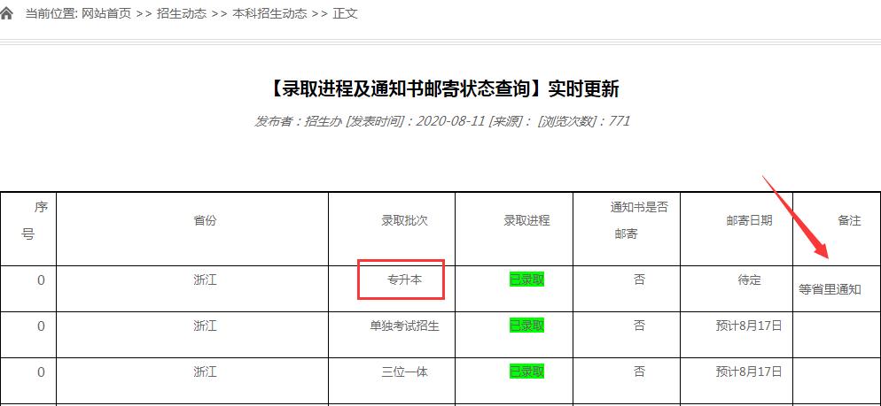 上海财经大学浙江学院2020年专升本通知书邮寄状态查询