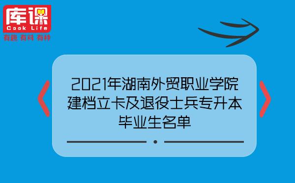 2021年湖南外贸职业学院建档立卡及退役士兵专升本毕业生名单