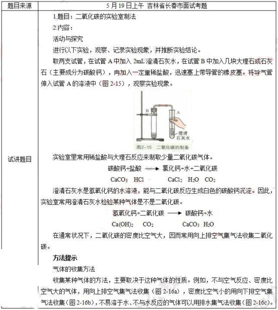 教师资格证考试初中化学真题及答案