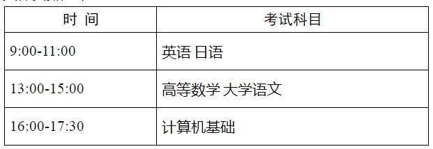 江苏专转本考试时间安排