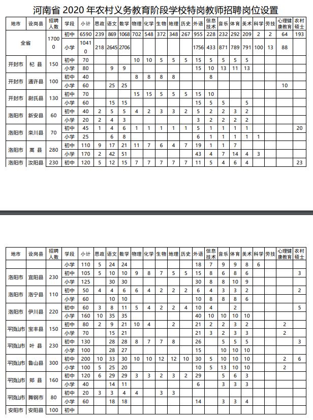 2020年河南特岗教师岗位表