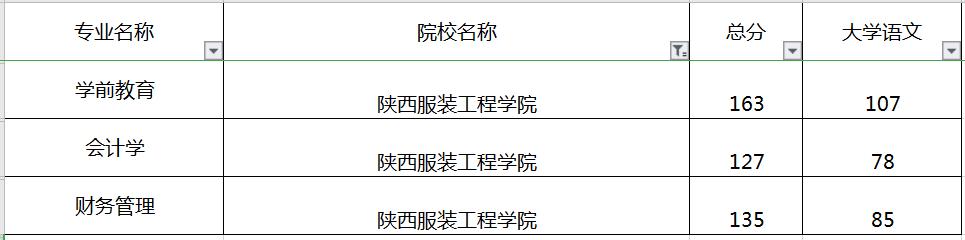 陕西专升本陕西服装工程学院录取分数线